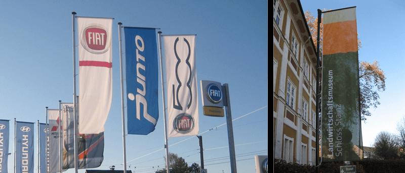 Auslegerfahnen wie Firmenfahnen bedrucken lassen - Inter Fahnen